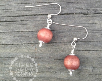 Finger Lakes Wine Earrings | Wooden Beads and Sterling Silver
