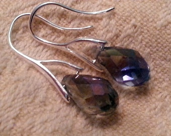 Sterling silver 925 earrings with crystal drop (blue-grey tone glass)