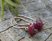 Ruby and Rose Gold Earrings -  14k gold filled earwires