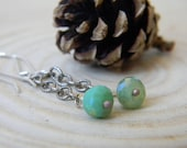 petite mystic chrysoprase swinger earrings on textured silver chain - oxidized and rustic earrings