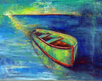 BOAT Abstract Painting - Oil Painting Impressionist Fine Art Lake Painting of Rowboat - 40x28 by BenWill