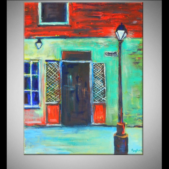 New ORLEANS ORIGINAL Large Painting Rue Bourbon Street 30x24 Made to Order by BenWill