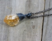 Rough Citrine Nugget Necklace Raw Stone Pendant Simple Minimalist Necklace Dainty Wire Wrapped Jewelry Chunky Crystal Point Gunmetal RTS