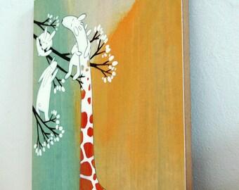 "The Sweetest Giraffe - 8""x10"" Mounted Art Print"