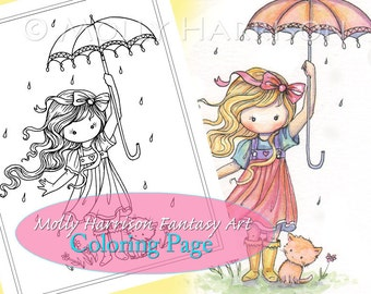 In the Rain - Coloring Page - Printable - Cute Little Girl with Cat and Umbrella - Molly Harrison Fantasy Art - Instant Download