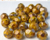 25% OFF Summer Sale Czech Glass Bead 6mm Faceted Round Bead - Opaque Yellow - Bronze Picasso  - 25 (G - 438)