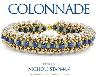 NEW - Kit for Nichole Starman's Colonnade Bracelet CzechMates - Blue/Silver/Bronze Colorway - Kit Only