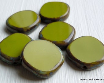 15mm Coin Opaque Green Picasso Beads - 6 Czech Picasso Beads . Czech Glass Beads (G - 709)