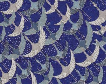 Chiyogami or yuzen paper - waves of long life cranes in blue and gold on ultramarine blue, 9x12 inches