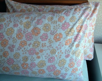 Vintage Pair of Pillowcases - Pink and Orange and Cream Dainty Flowers
