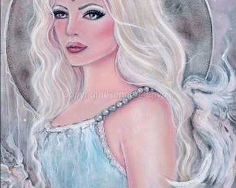 ORIGINAL 10 x 14 Ambriella fantasy angel  By Renee L. Lavoie