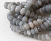 Gray Moonstone Beads, Faceted Grey Moonstone Rondelle Bead Strand, AAA Quality, Full 8 inch Strand, 7mm - Item 362