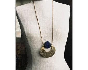 Lapis Lazuli Crescent Moon Gemstone pendant Necklace - Statement Necklace - Blue stone Necklace - brass chain choker - Long crystal necklace