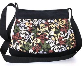 Skeleton bag, black messenger bag , vegan crossbody bag ,handmade shoulder purse ,cross over bag, cross body purse,Canada seller, school bag