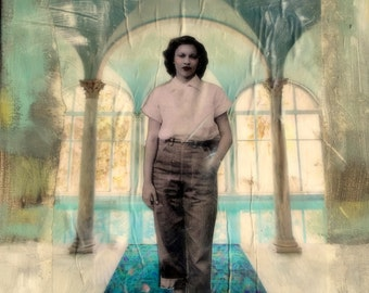 textured painting dreamlike  vintage woman pool