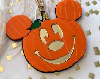 Laser Cut Acrylic Mickey Mouse Jack O Lantern Pumpkin Halloween Necklace