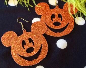 Mickey Mouse Jack O Lantern Pumpkin Acrylic Earrings