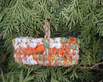 BABY CARROT  small textile art BASKET