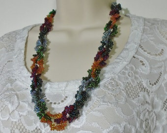 10% SALE - Woven Beaded Ruffle Chain Necklace with hidden clasp - 30 loops 24 Inches long
