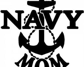 Navy mom decal, vinyl decal, military, navy, car decal