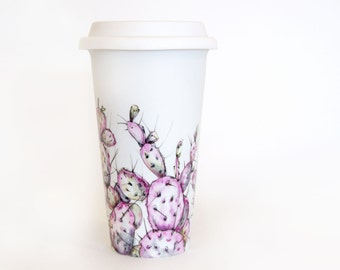Coffee Mug, Tea Cup, Eco-cup, Travel Mug, White Ceramic - Prickly Pear | Southwest Collection
