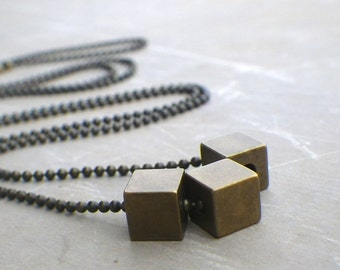 Brass Cube Necklace, Geometric Square, Modern Minimalist Necklace, Raw Brass Men's Industrial Necklace, Industrial Jewelry