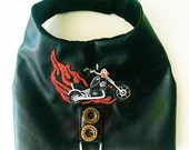 dog clothes Vest black faux leather motorcycle vest harness chihuahua clothes yorkie small dog harness