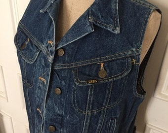 Vintage 80s Lee denim jean vest