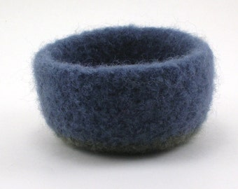 Felted wool bowl - mini felt bowl - color block bowl - steel blue and eucalyptus