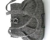 Black purse, retro bag, grey handbag, shoulder bag, fabric bag, womens handbag, retro purse, pleated bag, grey purse, ready to ship