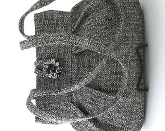Black purse, retro bag, grey handbag, shoulder bag, fabric bag, womens handbag, retro purse, pleated bag, grey purse,