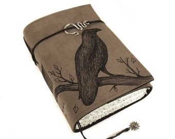 Black Bird, Leather Book, Handmade Journal