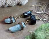 Rough Kyanite Stick Black Tourmaline Nugget Earrings Blue Raw Gemstone Long Wire Wrapped Earrings Boho Rustic