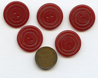Bakelite Buttons set of (5) CHERRY RED Vintage Matching  7/8 inch size 1584