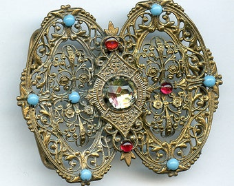 Antique Filigree Rhinestone BUCKLE  Turquoise Ruby Red Prong Set 1972
