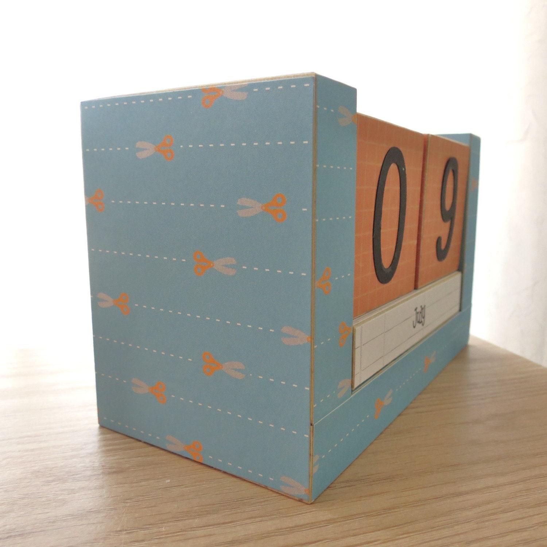 Calendar Wooden Blocks : Perpetual wooden block calendar cut on the line scissors