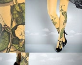 10%OffEndsOct24 Tattoo Tights -  Climber Plant mustard one size full length closed toe pantyhose tattoo socks ,printed tights