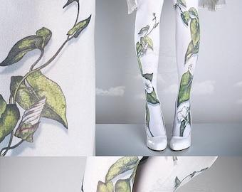 15%SALE/endsAUG30/ Tattoo Tights -  Climber Plant white one size full length closed toe pantyhose tattoo socks ,printed tights