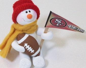 San Francisco 49ERS football snowman ornament