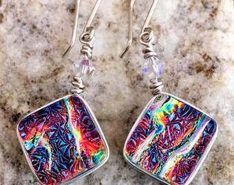 Dichroic Glass Earrings Beautiful Wire-Wrapped with Sterling Hooks