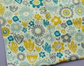 Petit Fleur - Fabric Freedom - Fat Quarter - Yellow, Blue, Grey - Floral Cotton Fabric - Destash