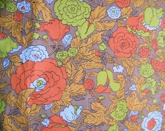 Vintage fabric, cotton,floral, oranges, brown, lime green, white