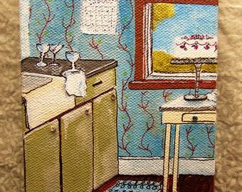 original art of still life kitchen on canvas 4x6