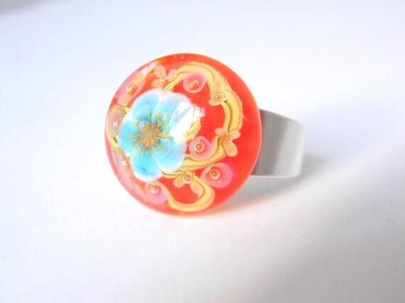 Poppy Sakura Ring - Lampwork Glass and Sterling Silver
