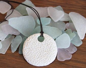 Porcelain Coral Medallion Pendant Necklace