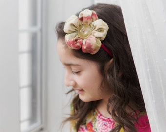 Oversize Flower Headband - Shabby Chic fabric-