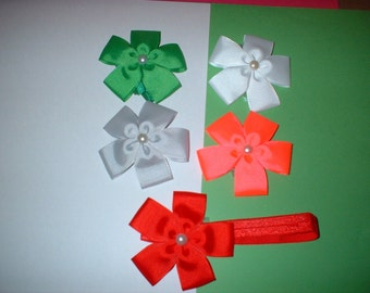 3  inch  Hair Bows on Headbands In  colors (6)  total of 5