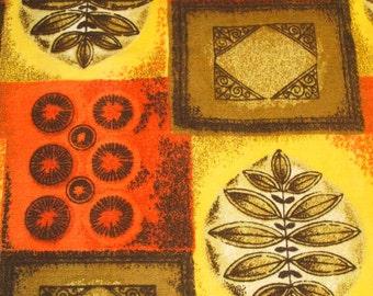 "vintage midcentury barkcloth fabric in pumpkin orange and mustard yellow 24"" wide"