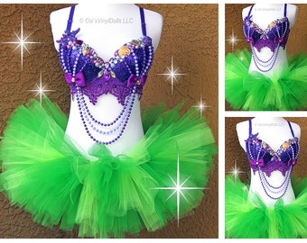 Fancy Ariel Little Mermaid inspired Rave Outfit - Rave Bra, TuTu, Disney Rave Outfit, Halloween EDM Mermaid Costume