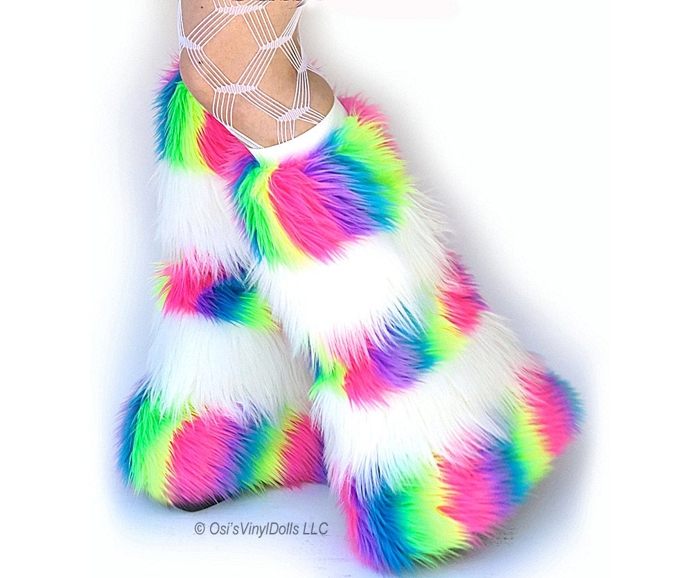Fluffies Stripy UV Neon Rainbow White Rave Furry Leg Warmers